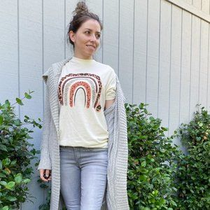 Cream Graphic Tee with Animal Print Details